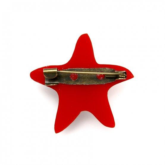 Брошь Asteriidae красная
