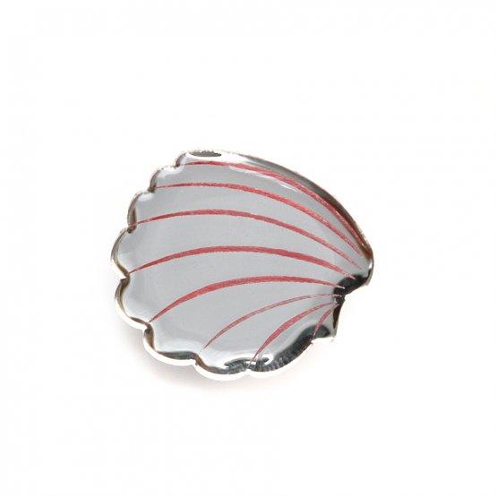 Брошь Cardiidae серебро/коралл