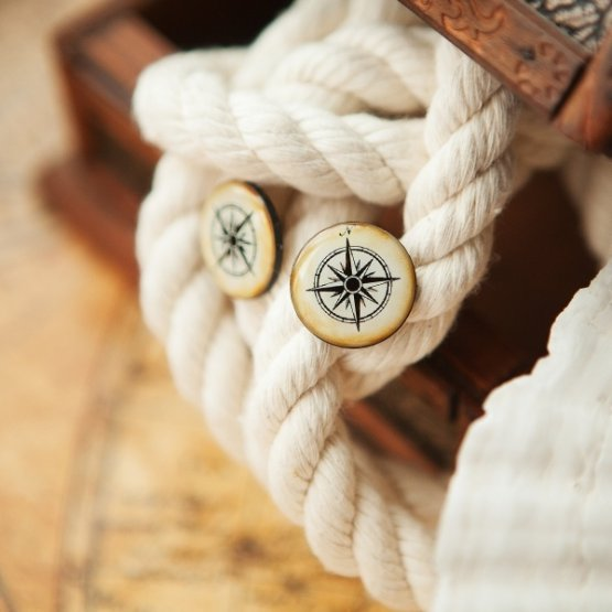 Серьги-гвоздики Vintage Compass