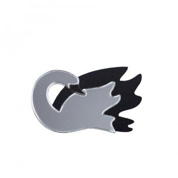 Брошь Лебедь серебро с черным