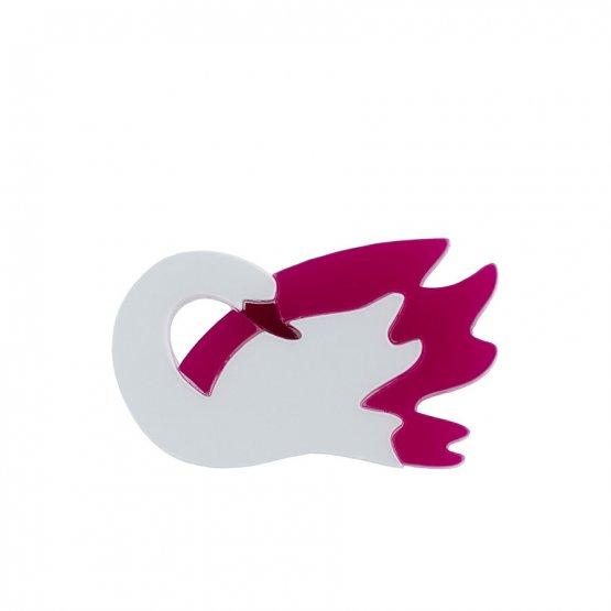 Брошь Лебедь бело-розовый