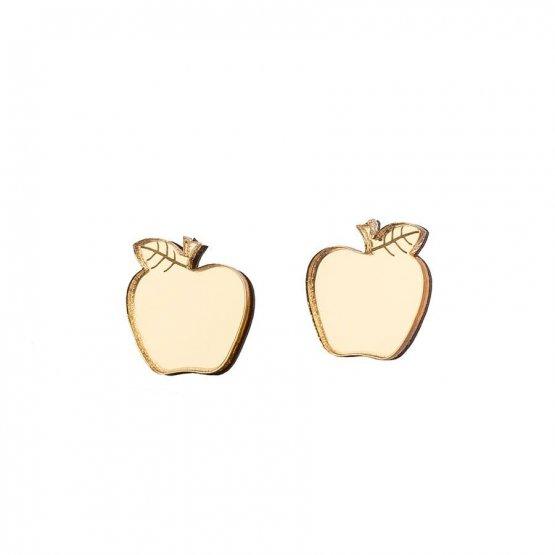 Серьги-гвоздики яблочки зеркальные