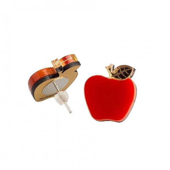 Серьги-гвоздики Яблочки красные