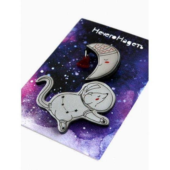 Двойная брошь мышка Moon Adventure