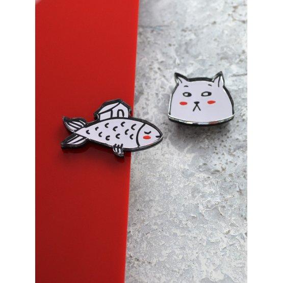 """Комплект брошей из двух """"Кот и рыбка"""""""