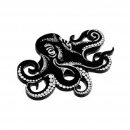 Брошь Graphic Octopus Black