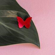 Брошь Бабочка малая (красная)