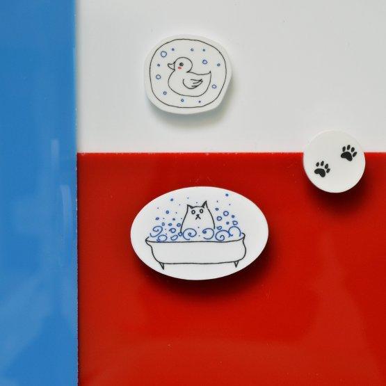 """Комплект брошей """"Кот в ванной"""""""