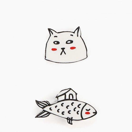 """Комплект брошей """"Кот и рыбка"""""""
