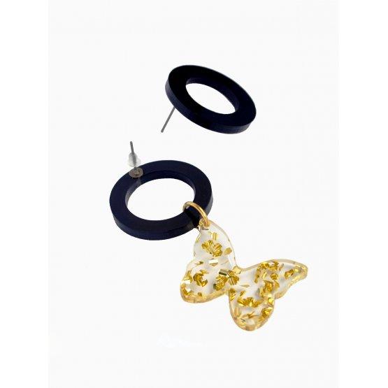 Серьги асимметричные с бабочкой (прозрачные)