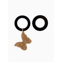 Серьги асимметричные с бабочкой (глиттер золото)