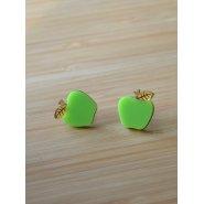 Серьги-гвоздики Яблочки зеленые
