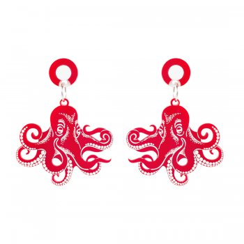 Серьги Graphic Octopus Red