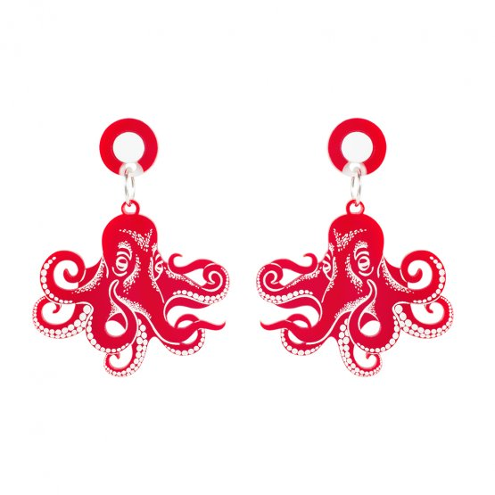 Серьги Graphic Octopus Red