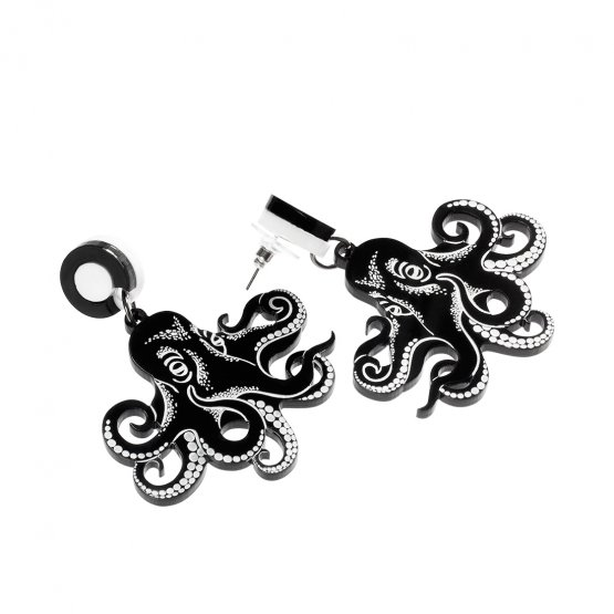 Серьги Graphic Octopus Black