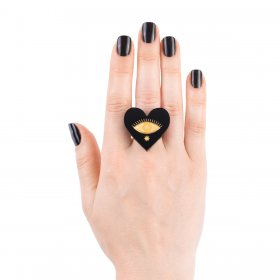 Кольцо Heart Black
