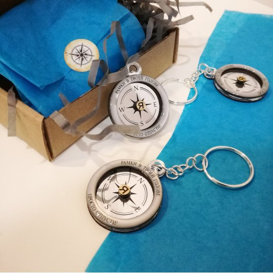 Брелок, кулон или брошь компас