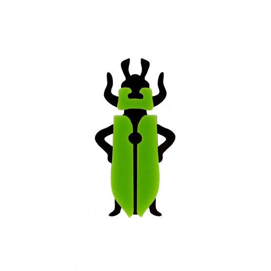 Брошь Жук черно-зеленый