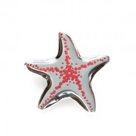 Брошь Asteriidae серебро/коралл