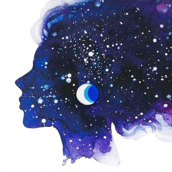 Серьги-гвоздики Half Moon