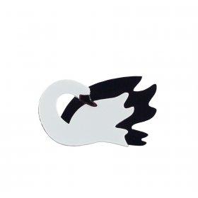 Брошь Лебедь черно-белый
