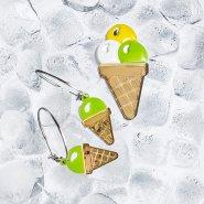Серьги-кольца Мороженое фисташковое