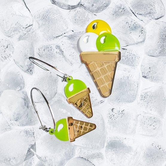 Брошь 3 шарика мороженого большая