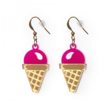 Серьги Мороженое малиновое